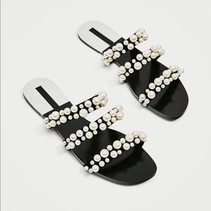 WORN ONCE STRAPPY PEARLY SANDALS